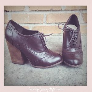 Lace Up Granny Style Heels